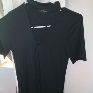 Black shirt with choker neck